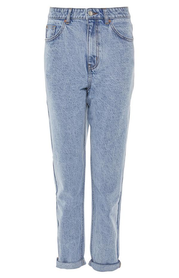 Lichtblauwe jeans met hoge taille en rechte pijpen