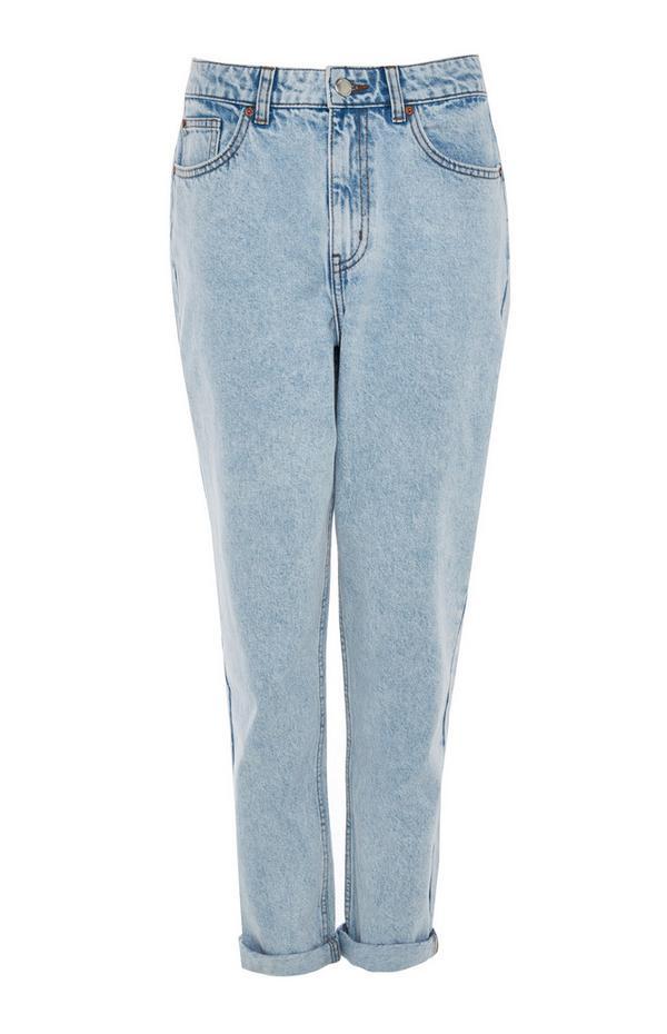 Faded Blue Denim Rolled Hem Mom Jeans