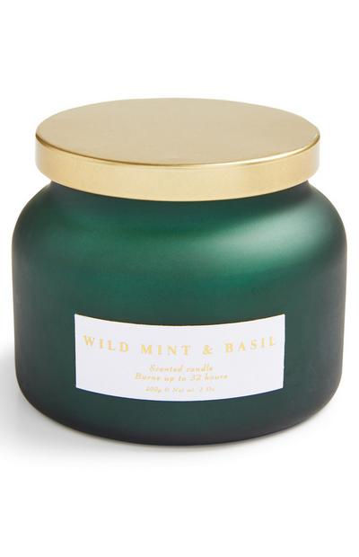 Large Green Wild Mint And Basil Jar Candle With Gold Lid