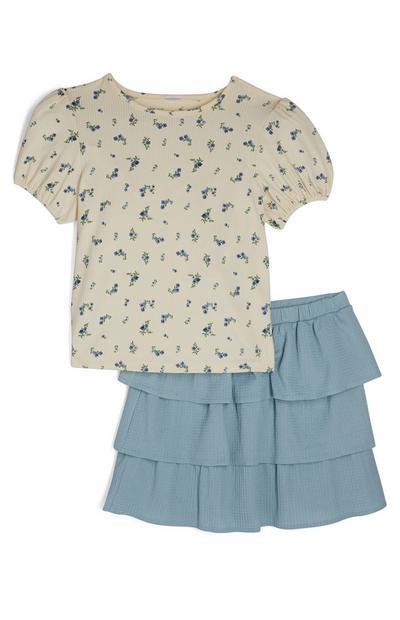 Blauer Stufenrock und T-Shirt im Set (Teeny Girls)