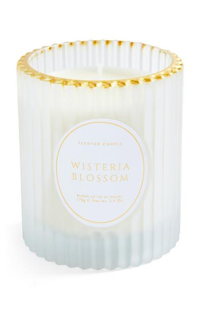 Wisteria Blossom Fluted Glass Votive With Gold Rim