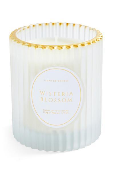 Votivna sveča v kozarcu iz rebrastega stekla z zlatim robom Wisteria Blossom