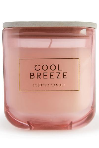 Vela quadrada grande aroma Cool Breeze tampa madeira
