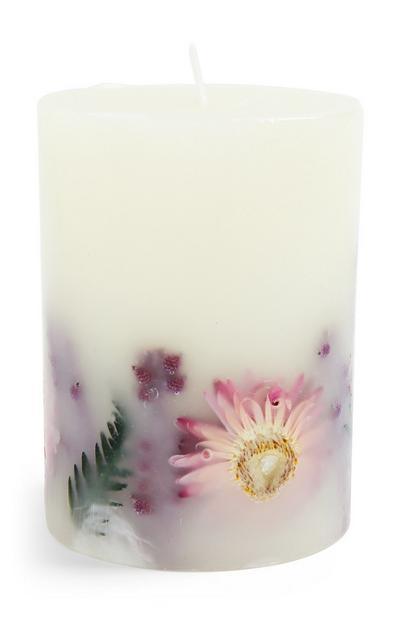 Floral Inclusion Pillar Candle
