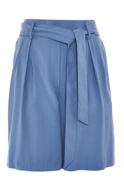 Blue Relaxed Belted Shorts