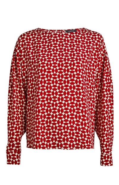 Red Geometric Print Drop Shoulder Blouse