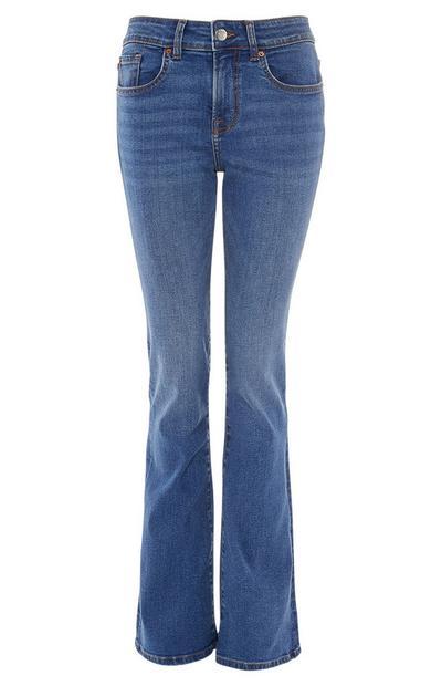 Mid Blue Flare Leg Jeans
