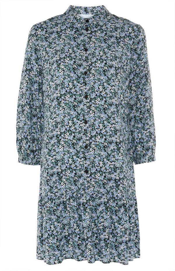 Floral Print Green Tiered Mini Shirt Dress