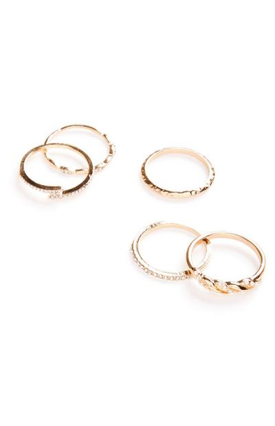 Goldtone Lightning Bolt Diamonte Ring Set 5 Pack