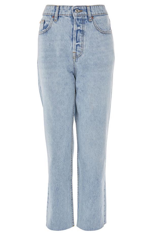 Jeans a vita alta lavaggio chiaro a gamba dritta