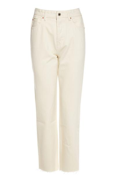 White High Waist Straight Leg Jeans 2