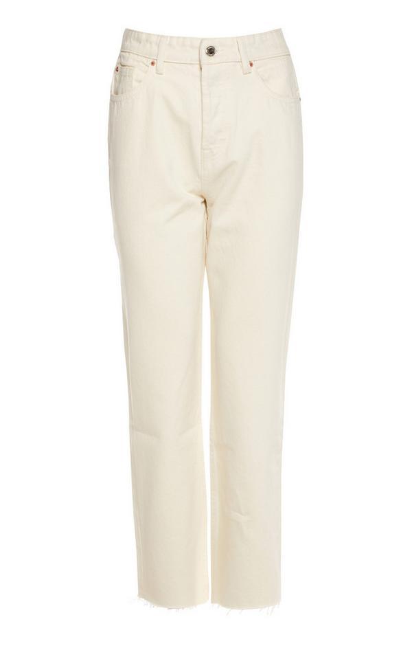 Jean blanc coupe droite à taille haute