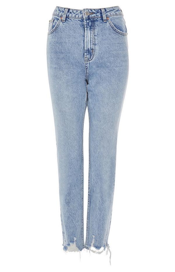 Ripped Hem Straight Leg Jeans