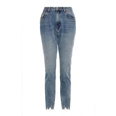 Blue Denim Ripped Hem Straight Leg Jeans
