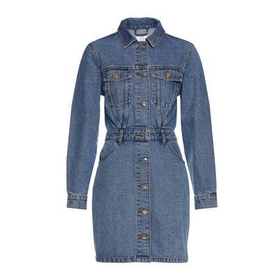 Robe tendance bleue en jean à manches longues