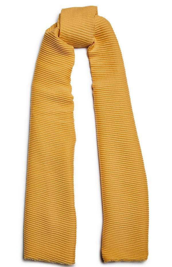 Mustard Plain Pleat Scarf