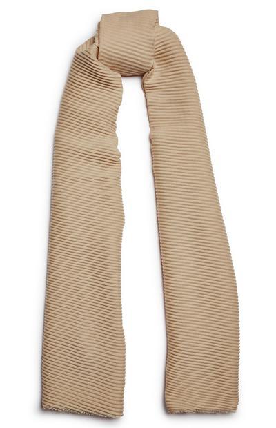 Écharpe beige uni plissée