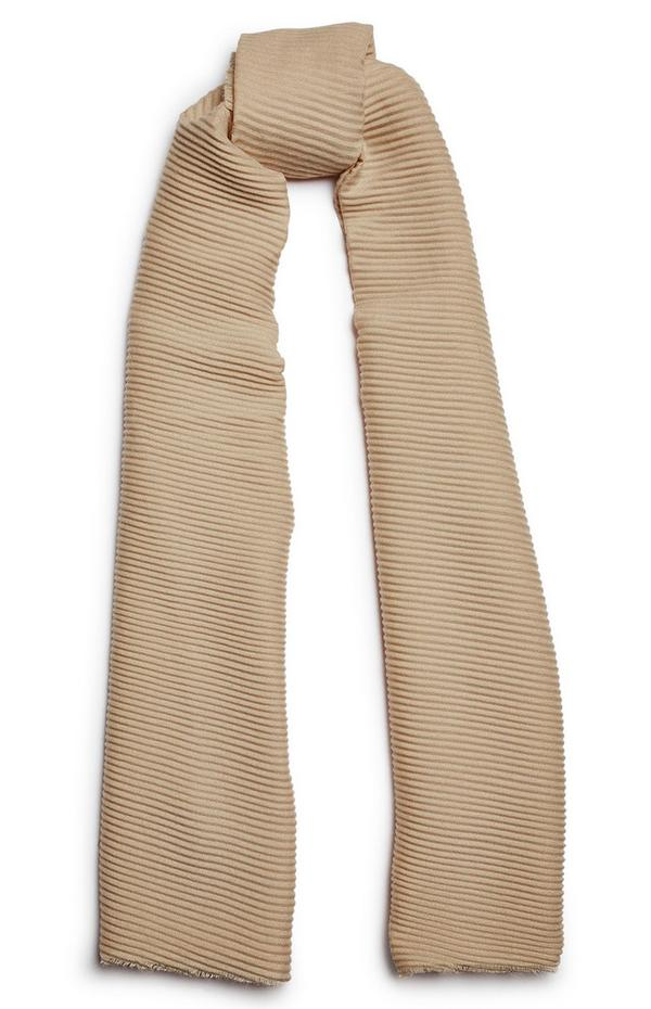 Beige Pleated Scarf