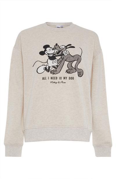 "Ecrufarbener ""Primark Cares featuring Disney"" Micky Maus und Pluto Pullover"