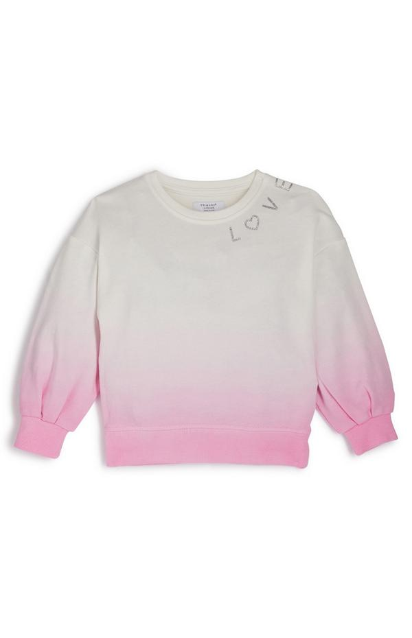 Younger Girl Pink Dip Dyed Crew Neck Sweater