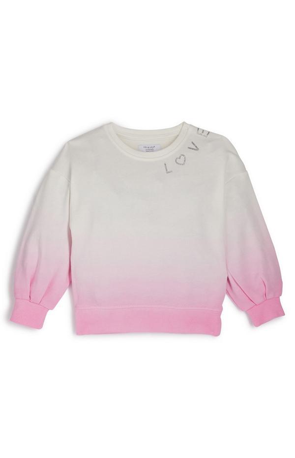 Sudadera rosa con cuello redondo y estampado degradado rosa para niña pequeña