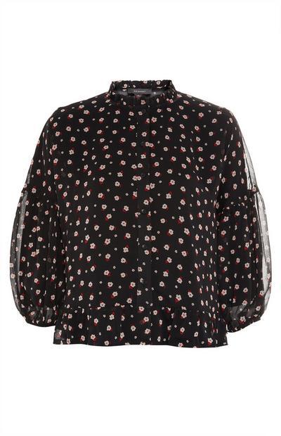 Black Floral Print Frill Hem Shirt