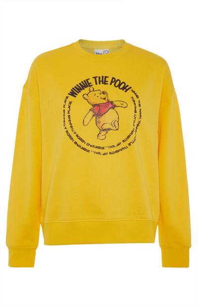 Sweat-shirt jaune avec inscription Winnie l'ourson