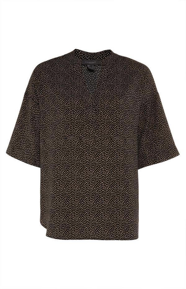 Black Print Pullover Blouse