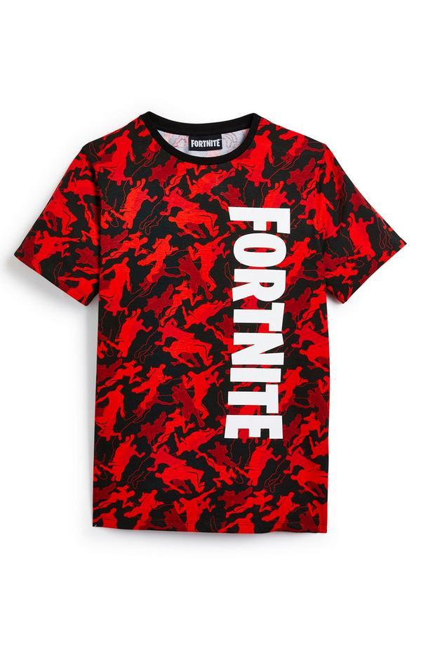 Older Boy Red Pattern Fortnite T-Shirt