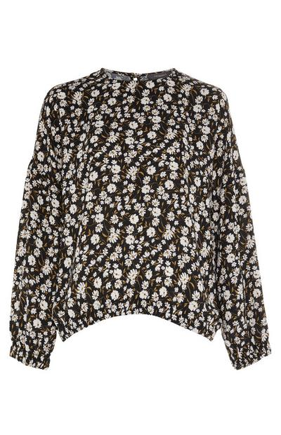 Slouchy Hem Shell Print Long Sleeve Top