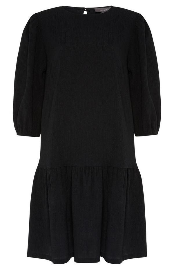 Black Textured Tiered Mini Dress