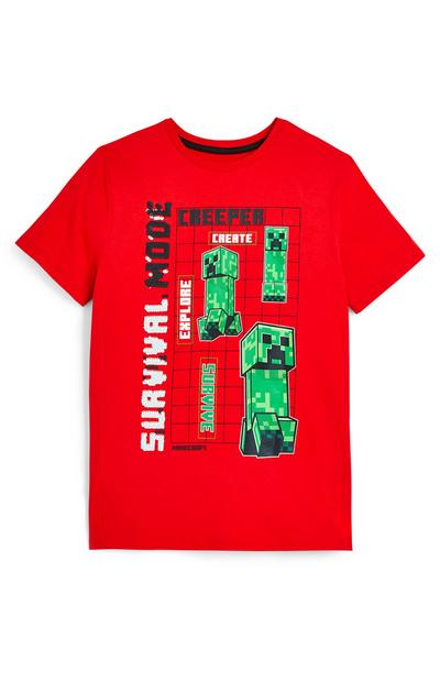 T-shirt rouge Minecraft ado