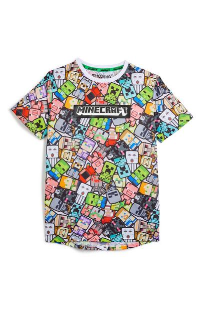 T-shirt Minecraft rapaz tom claro multicolor