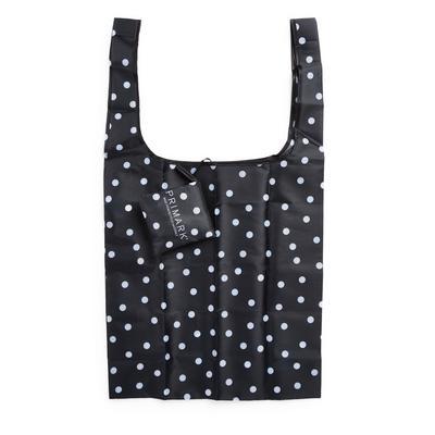 Black Polka Dot Foldaway Shopper