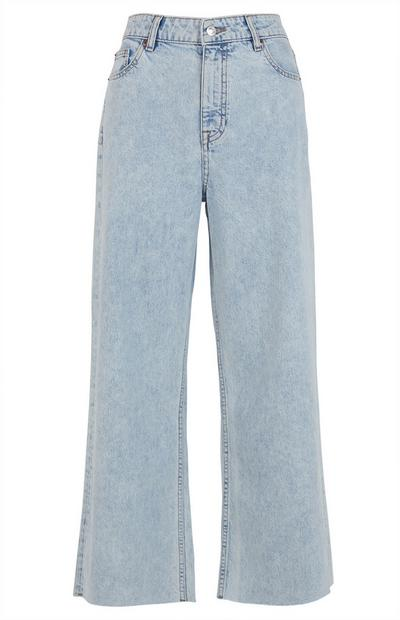 Light Wash Cropped Wide Leg Jeans