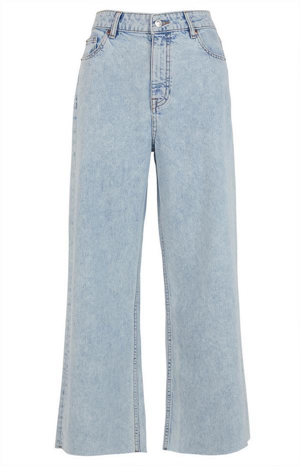 Jeans dal taglio corto a gamba larga lavaggio chiaro