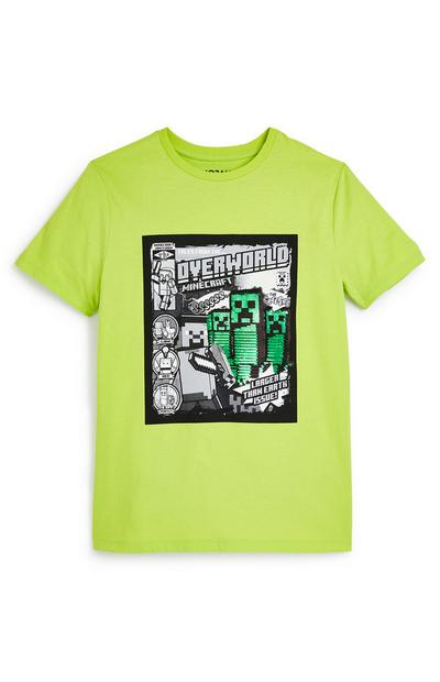 T-shirt vert citron Minecraft ado