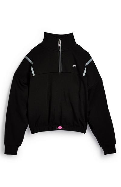 Older Girl Active Black Half Zip Pull Over Top