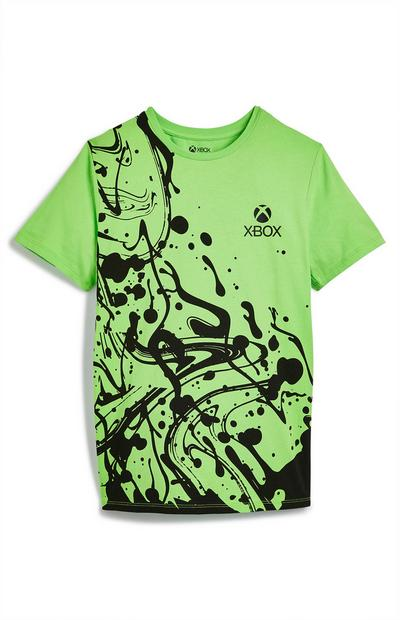 Older Boy Green And Black Paint Splat Xbox T-Shirt