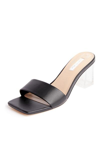 Black Single Strap Square Toe Perspex Heel Mules