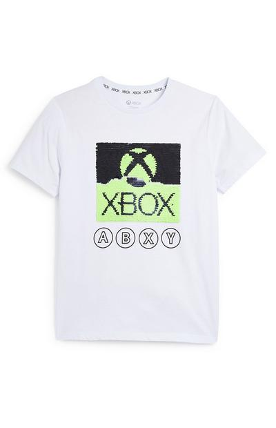 Older Boy White Sequin Print Xbox T-Shirt