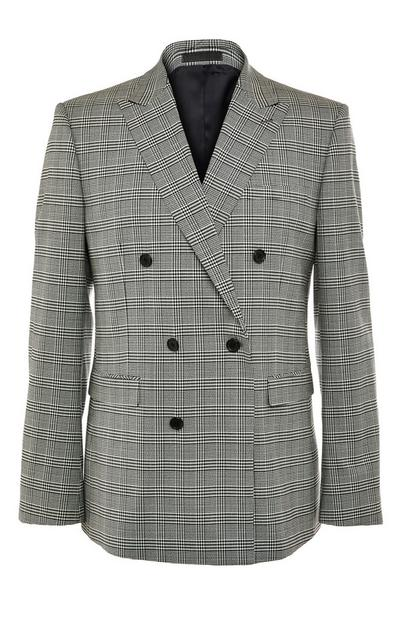 Premium Grey Check Double Breasted Modern Suit Jacket