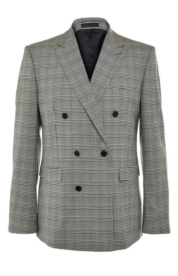 Veste de costume grise moderne croisée à carreaux Premium