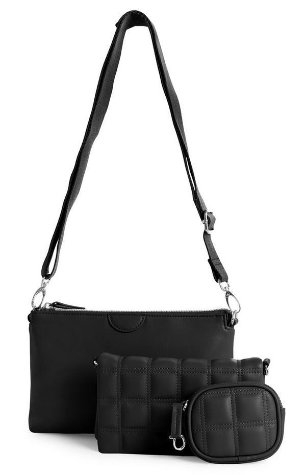 Schwarzes 3-in-1-Taschen- und Portemonnaie-Set mit Steppnähten