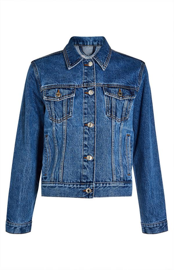 Basic Blue Denim Button Up Jacket