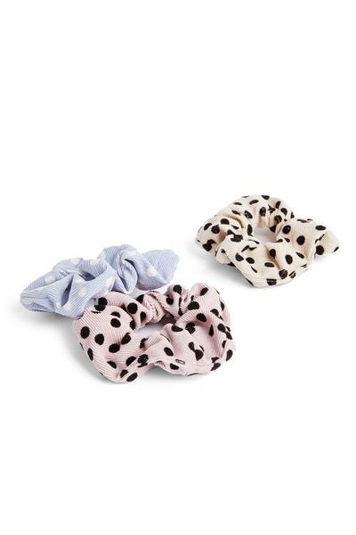 Polka Dot Corduroy Scrunchie 3 Pack