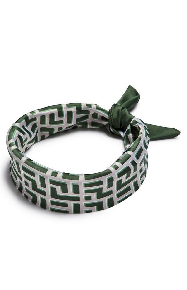 Fazzoletto per collo verde in raso con stampa