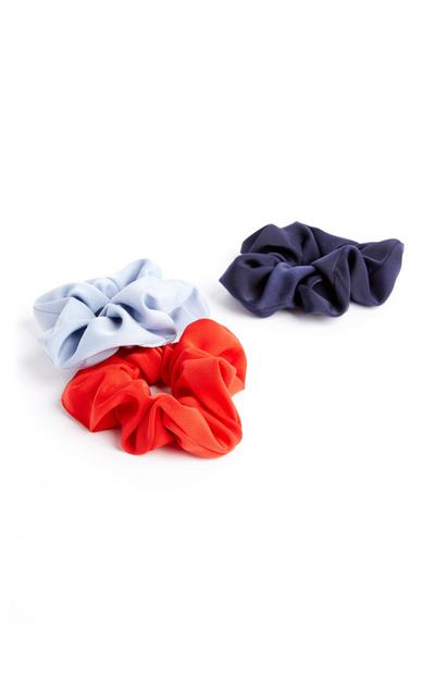 Red And Blue Satin Scrunchie 3 Pack