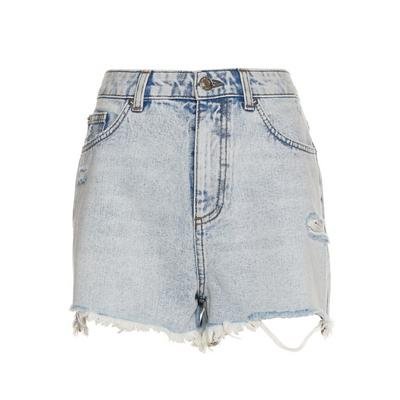 Faded Blue Denim Distressed Authentic Shorts