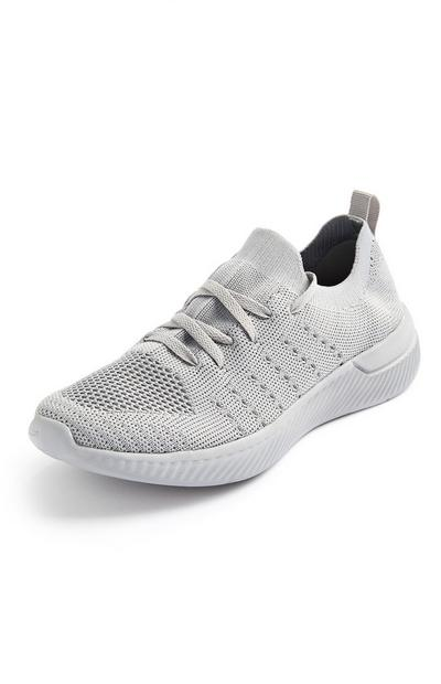 Grey Recycled Knit Trainers